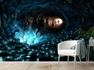 Mysterious blue crystal cave, stimulating adventure concept