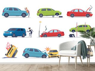 Accident on road. Car damaged vehicle insurance transportation theif repair service traffic vector pictures collection. Illustration of crash vehicle, damage auto
