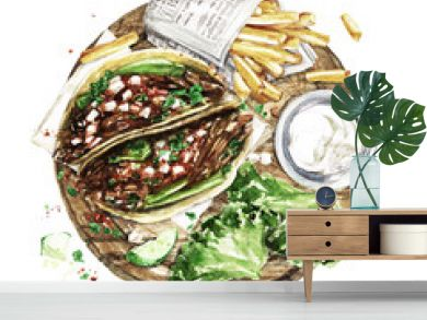 Tacos and Fries. Watercolor Illustration