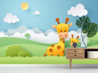 Paper craft of giraffe and africa forest