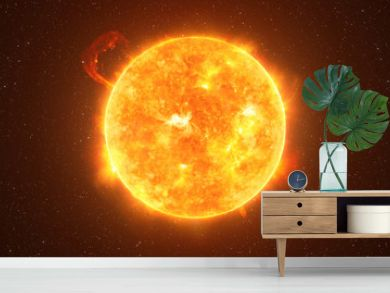 Bright Sun against dark starry sky in Solar System, elements of this image furnished by NASA