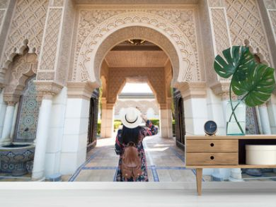 Tourist is sightseeing at Morocco Pavilion in Putrajaya district in Malaysia.