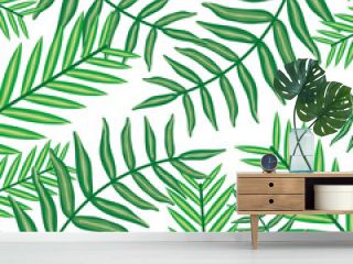 set of tropical leafs plants pattern background
