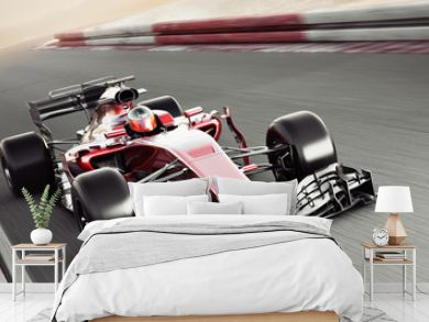Motor sports competitive team racing. Fast moving generic race car racing down the track with motion blur. 3d rendering with room for text or copy space