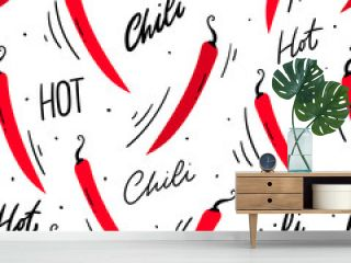 Hot chili peppers seamless pattern for textile, print. Red chili background.