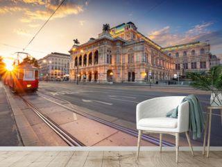 Vienna, Austria. Cityscape image of Vienna with the Vienna State Opera during sunset.