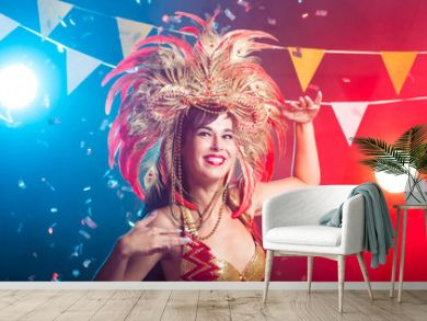 Holidays, party, dance and nightlife concept - Beautiful woman dressed for carnival night