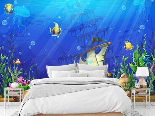 Vector horizontal illustration of the underwater ocean with a sunken schooner