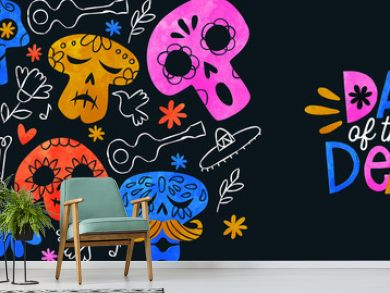 Day of the dead banner colorful watercolor skull