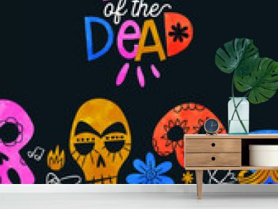 Day of dead card cute watercolor skull cartoon