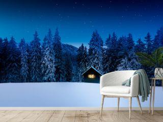 Blockhütte mit Leuchtendem Fenster in winterlichem Wald