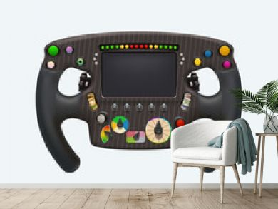 formula steering wheel on white