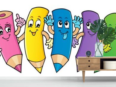 Happy wooden crayons theme image 1