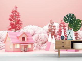 Beautiful Christmas winter snowy landscape background of pink tone color with mountains and low poly fir trees. 3d rendering