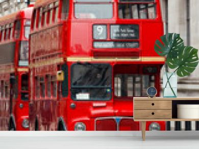 Iconic red Routemaster double-decker buses in London UK