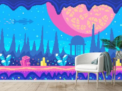 Crystals area on alien planet, Pixel art game location,