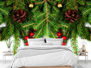 Amazing christmas border with fresh fir branches isolated on white. Golden balls, fir branches and red berries composition.