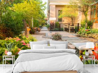 design and decorative garden with classic chair