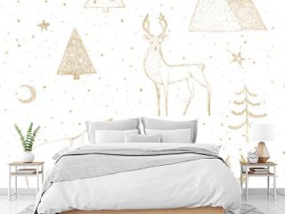 Seamless Christmas pattern with gold bear, reindeer / deer, mountains, moon, spruce on white background. Graphic illustration. Forest scene.