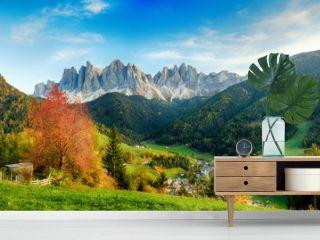 Beautiful landscape of Italian dolomites - Santa maddalena