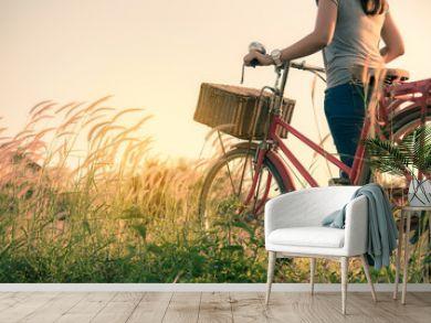 Retro bicycle in fall season grass field, warm meadow tone