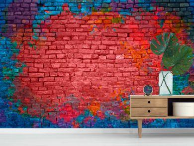 Paint splash, graffiti brick wall, colorful background