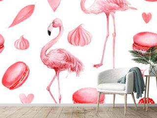 seamless pattern of cakes, hearts, leaves, meringues, macaroni, pink flamingo on an isolated white background, watercolor illustration