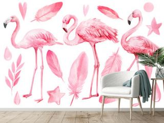 set of elements on an isolated white background, flamingos, pink feathers,  stars, hearts, drops, watercolor illustration, hand drawing