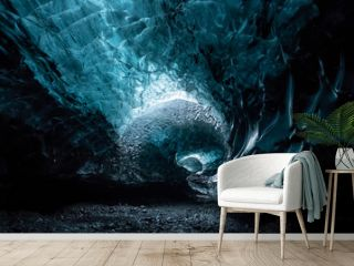 Inside an glacier ice cave in Iceland
