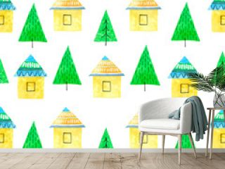 house and tree watercolor hand painted seamless pattern.