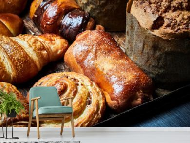 French baked pastry, pies, baguettes, croissants