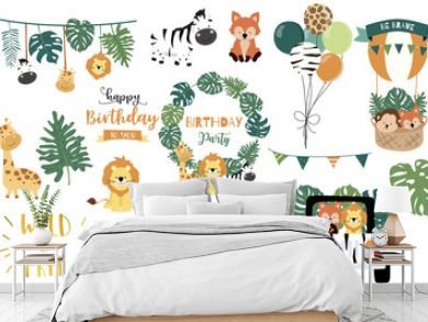 Safari object set with fox,giraffe,zebra,lion,leaves,car. illustration for logo,sticker,postcard,birthday invitation.Editable element