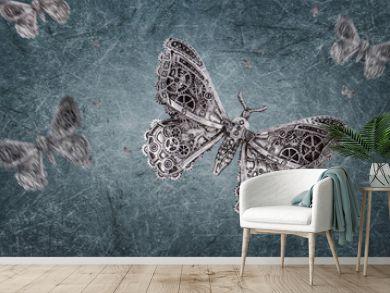 steampunk grunge Backdrop grey - Butterfly