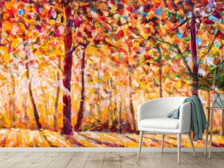 Autumn  panorama Tree with Foliage Original oil painting on canvas art. Impressionism Autumn illustration