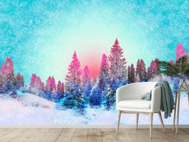 Winter landscape snowy trees beautiful sunset fanciful frosty trees Christmas trees