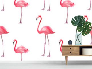 Seamless pattern with pink flamingo. Purple bird background. Good for textile, greeting card, t-shirt print and other design.