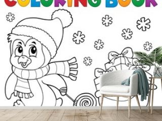 Coloring book Christmas penguin topic 9