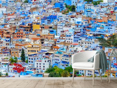 Panorama of the blue city of Chefchaouen in Morocco