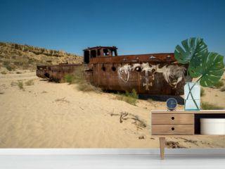 Rusty ship wreck in the deserted Aral Sea near Muynak en Uzbekistan