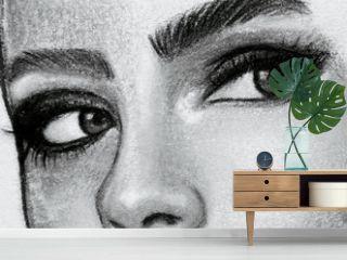 Eyes drawing in pencils