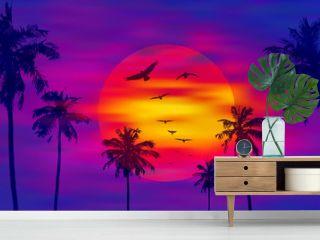 Palm trees on the orange full moon