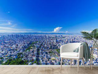 都市風景 大阪 関西 日本 キタ パノラマ ハイアングル 鳥瞰図 快晴 青空 都市 ビジネス 不動産