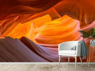 Panoramic glowing rocks in colorful Antelope Canyon near Page, Arizona. Travel concept.
