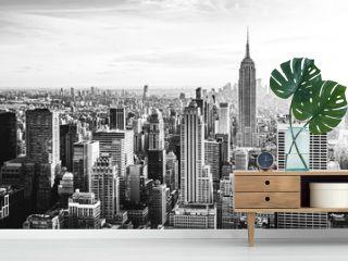 New York City Skyline in schwarz weiß