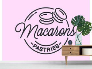 Macarons logo. Round linear logo of macarons
