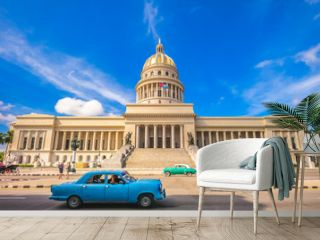National Capitol Building and vintage in havana, cuba