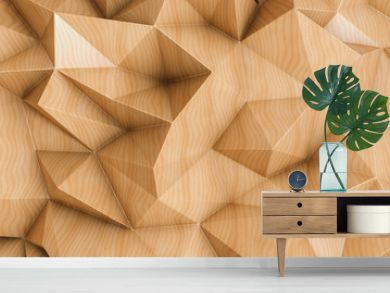 Polygonal abstract background with wood texture