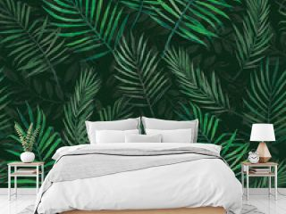 stock illustration palm leaves seamless pattern. tropics jungle. Exotic leaves watercolor seamless pattern. dark colors. for wrapper textile wallpaper