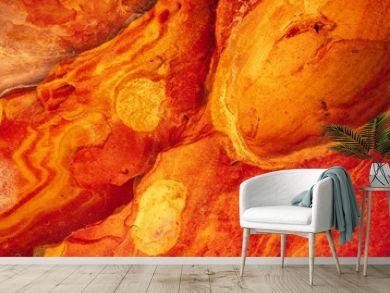 Detail of orange geoforms in Labetxu on Mount Jaizkibel, Basque Country
