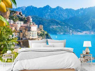 Small town Atrani on Amalfi Coast in province of Salerno, Campania region, Italy. Amalfi coast is popular travel and holyday destination in Italy.